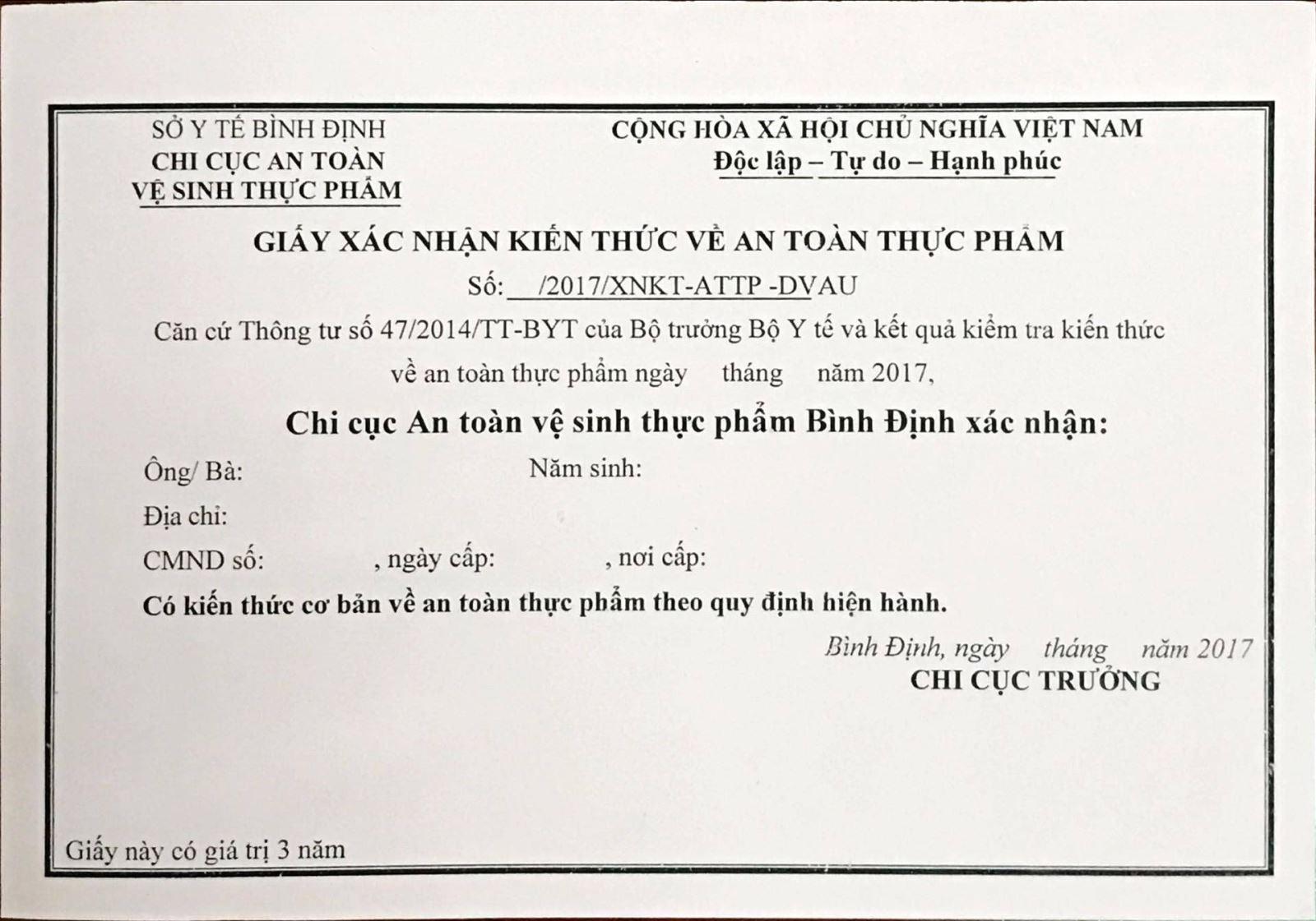 giấy chứng nhận an toàn thực phẩm khu vực bình dương