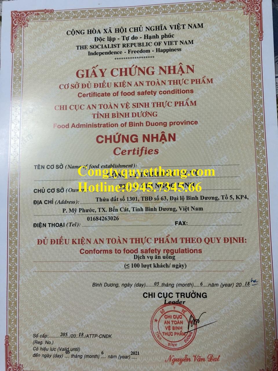 thủ tục cấp lại giấy chứng nhận an toàn thực phẩm